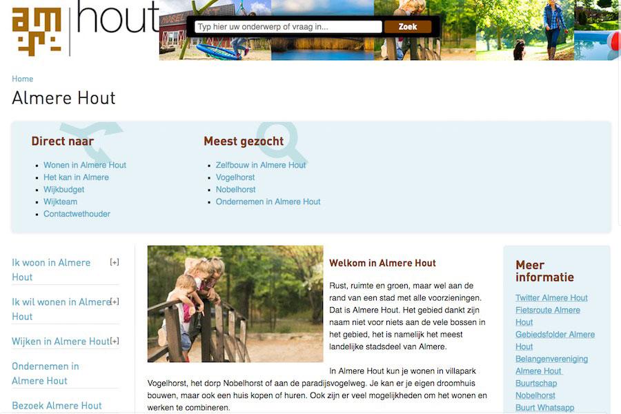 Website van de gemeente Almere over Almere-Hout