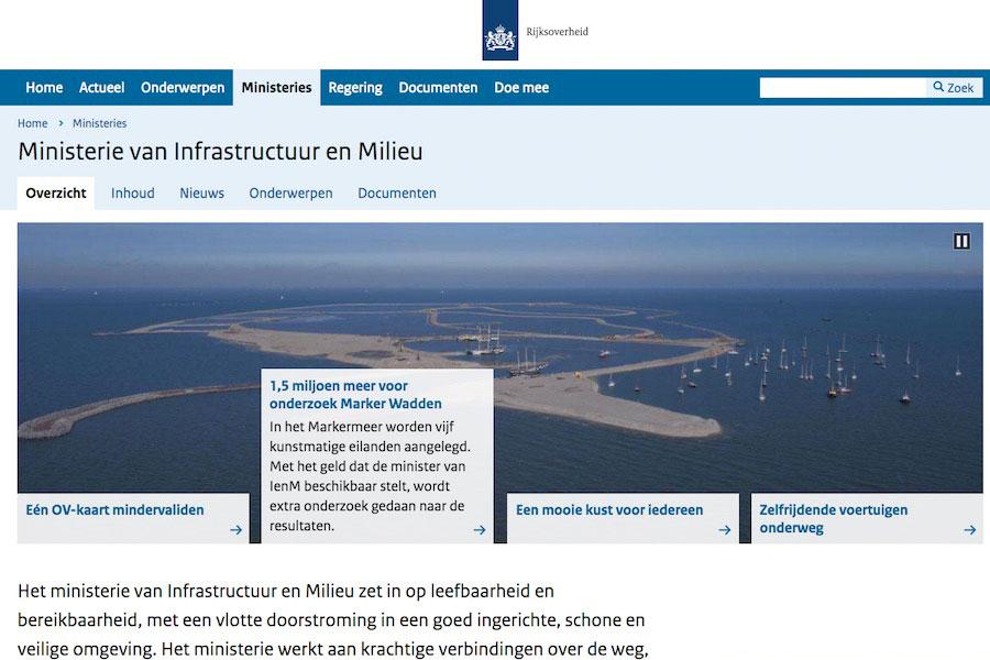 Website van het ministerie van Infrastructuur en Milieu