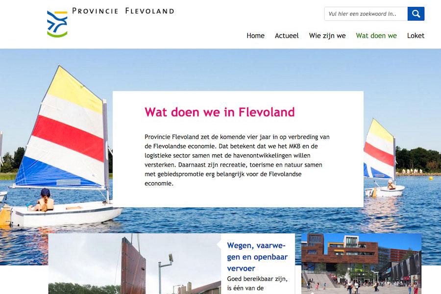 Website van de provincie Flevoland